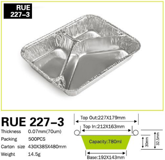 Aluminium foil container with three zone for house use kitchen helper