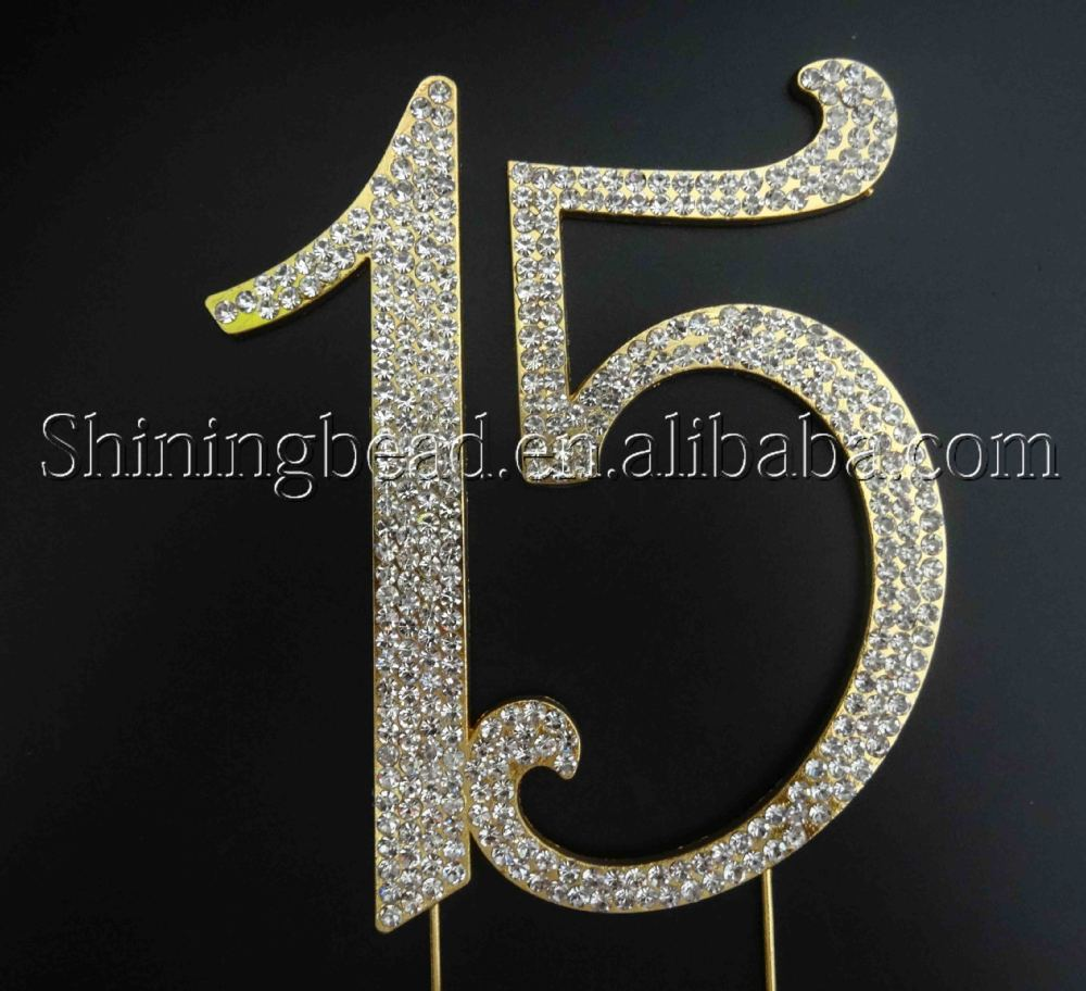 Rhinestone Number 15 Quinceanera Birthday Cake Topper