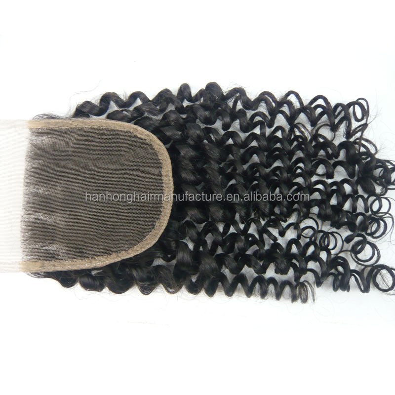 Three parting virgin brazilian human hair 3.5X4 super quality tight curly closure