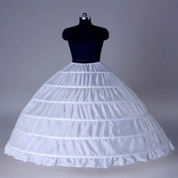 high quality 6 hoops layered dress white crinoline underskirt puffy petticoats for women