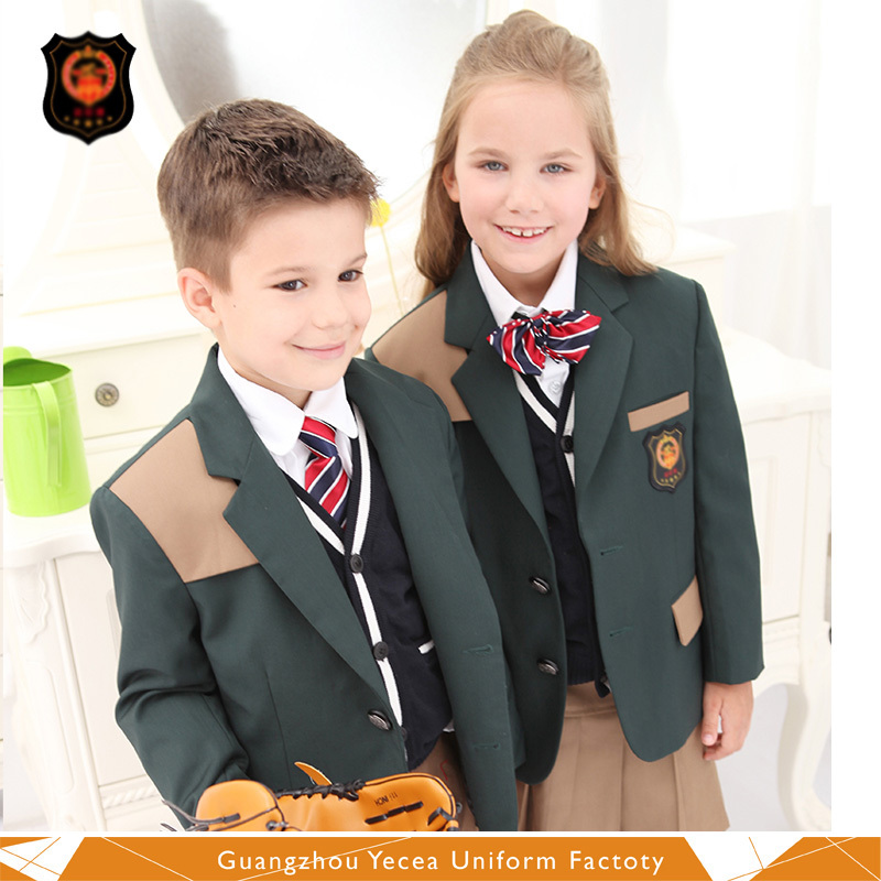 New style high quality both sexes international children school girls and boys uniform patterns