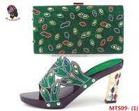Gzmadison Italian Multicolor Rough Heel Shoes And Bag Set /Wholesale Italian Matching Shoe And Bag To Match Women/MTS09-1