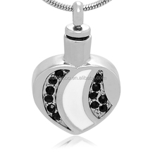 Wholesale Popular Filled Black Crystals And White Enamel Heart Shape Stainless Steel Pet Cremation Necklace Ash Pendant Jewelry