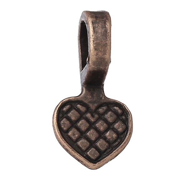 Glue on Bail Charm Heart Antique Copper 16.0mm x 8.0mm