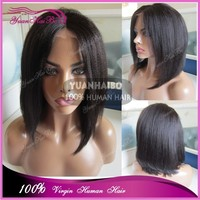 "Fashion! Hot Sale 12"" #1b Black Color Virgin Brazilian Human Hair Bob Style Yaki Straight Lace Front Wigs"
