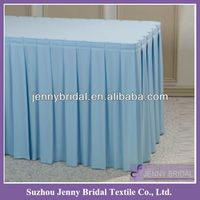TS010B blue decorative table skirting for wedding