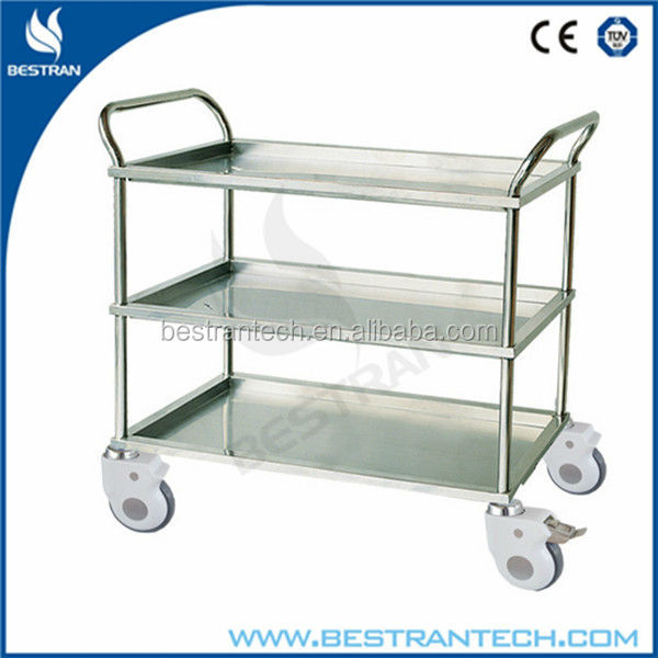BT-SIT003 stainless steel dressing trolley 3-tier medical cart
