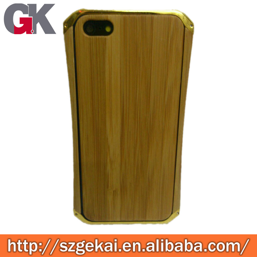 bamboo cover metal bumper case for iphone 4 4s