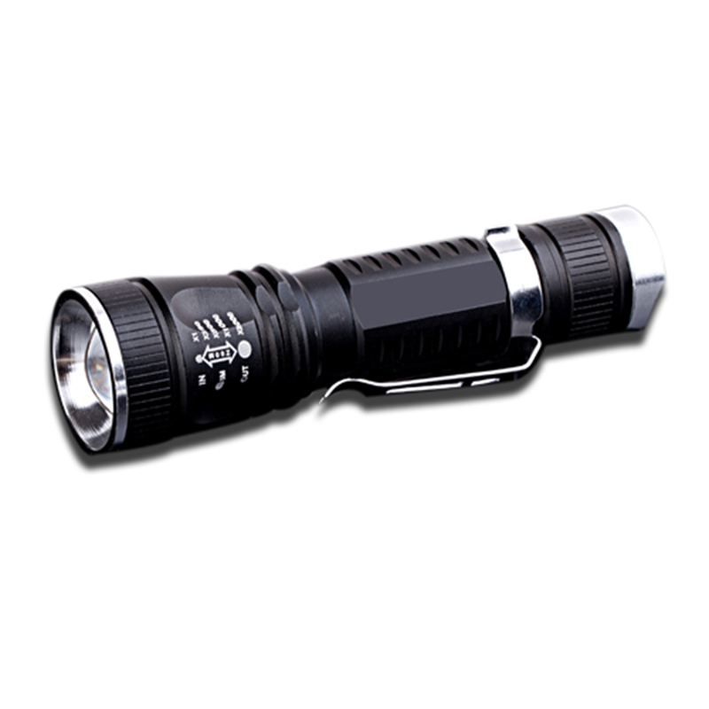 portable clip telescopic focusing led bulb 1x18650 batt tail switch 4modes aluminum flashlight