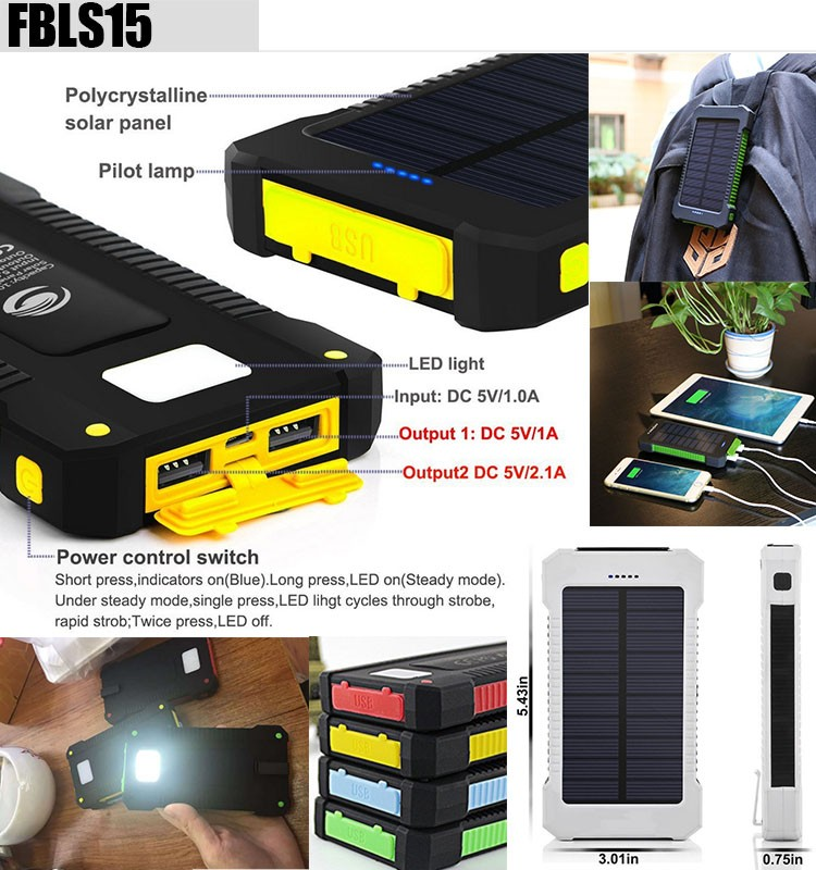 super slim rohs solar power bank 10000mah