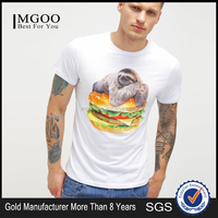 2016 Latest Fashion Custom Logo Design Plain White Tee Silkscreen Print Cartoon Character Hamburger Image Cotton T-Shirt