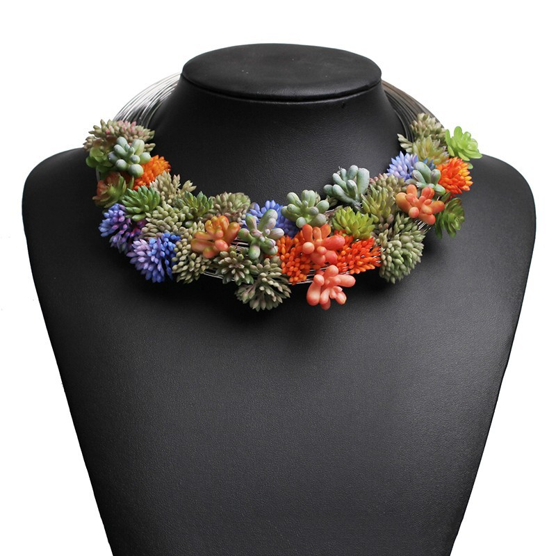 Fashion colorful resin flower plants chunky choker necklace ,women accessories
