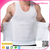 Plus Size White High Elasticity Mesh Male Tight Body Shaper Shirt
