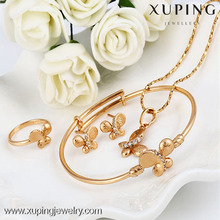62791 Cheap wholesale fashion jewelry set 18k gold color fine jewelry china