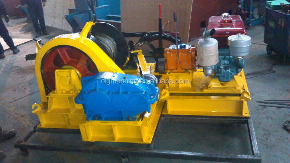 Durable Outdoor Piling Diesel Power Engine Winch with Double Drum