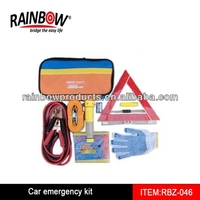 RBZ-046 Roadside Emergency Kit - Portable Car Auto Tool Set With Jumper Cables