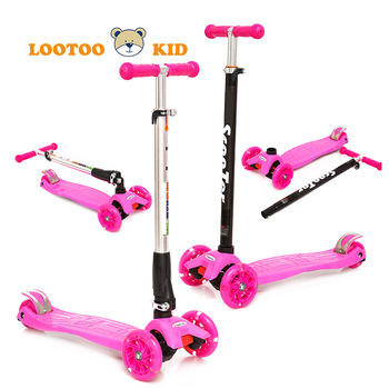 Three wheels light up durable outdoor ride plastic mini toy foldable children kick scooter for sale