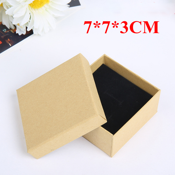 In Stock 7*7*3CM Kraft Paper <strong>Box</strong> for Ring Earring Necklace Jewelry Packaging <strong>Box</strong>
