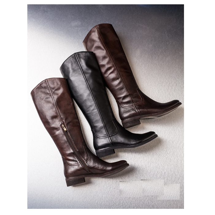 206303 High quality women real genuine leather flat women knee boots