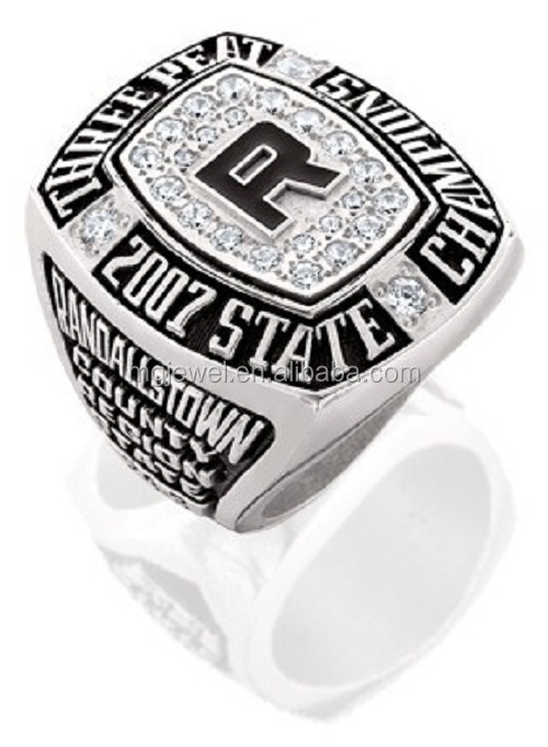 Three Peat 2007 State Champions Ring With Custom Logo Unique CZs