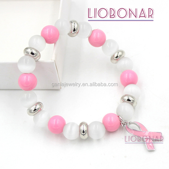2017 New Arrival Breast Cancer Awareness Jewelry Opal Bead Pink Ribbon Cancer Bracelet for Breast Cancer Compaign