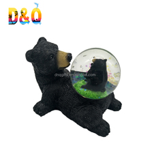 New design resin black bear souvenirs snow water globe