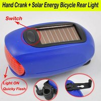 Rear blue Solar power bicycle light 3.6v 80mAH 100g Material:ABS Discharge time:4-6hours