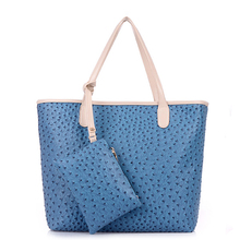 LF774 Reshine New Fashionable Ostrich PU leather Lady Handbag China Supplier Purses and Handbags Wholesale