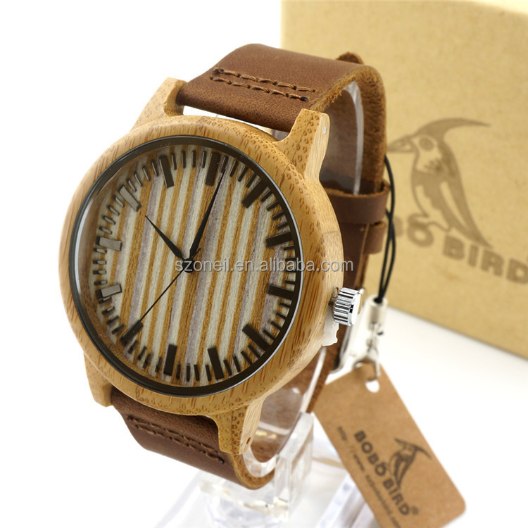 2016 japan movt quartz SR626SW bamboo leather strap watch