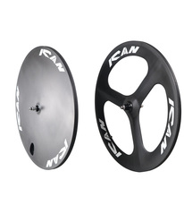 Ican hot sale 3S-T 56 mm depth carbon tubular three spoke bicycle wheels and disc wheels