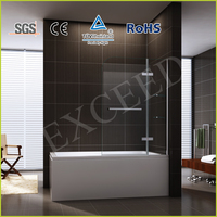 New design brass hinge and stainless steel handle shower bath screen EX-231