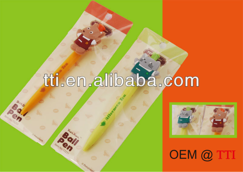 OEM Plastic Pen Click Type cartoon cat dog funny fancy trendy Sedex SMETA SA8000 factory audit