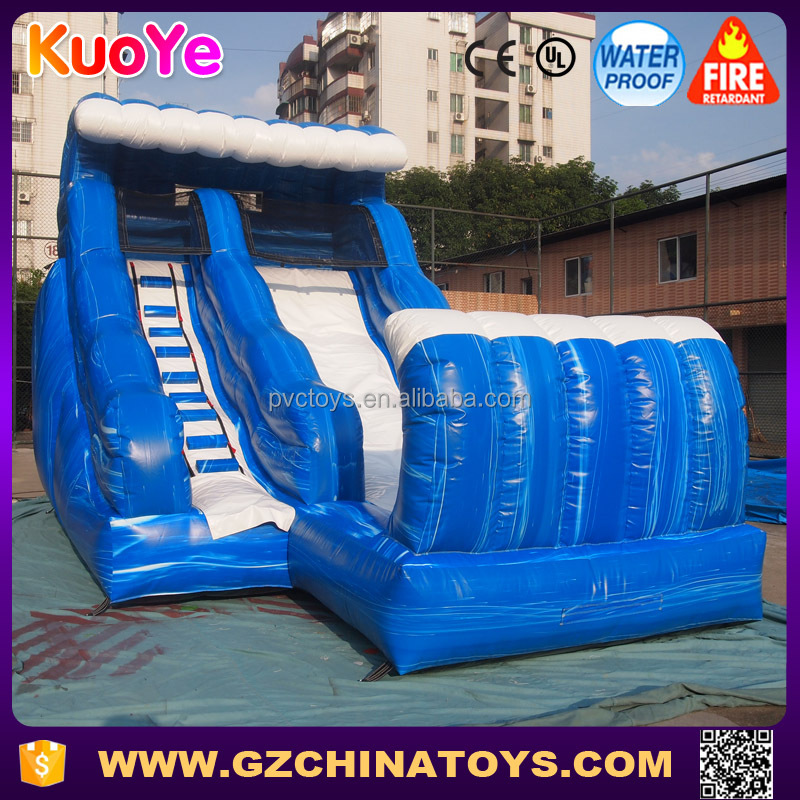customized blue water slide giant inflatable with pool