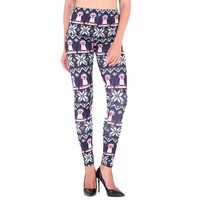 Wholesale Best Sale Christmas Leggings and Snowflake Pattern Printed Leggings Merry Christmas Stretchy