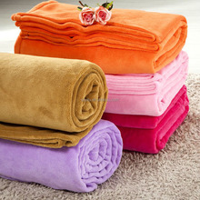 Pink Solid Color Polyester Coral Fleece Blankets And Throws Plain Roll Pack For India