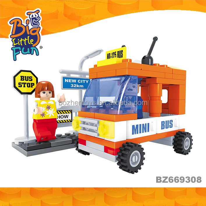 Cheap mini city model bus stop building blocks plastic education small car toys for sale