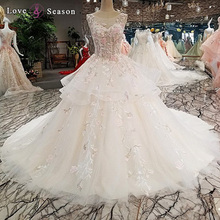 LS00275 princess flower appliques V-neck wedding dress with long train lao crystal wedding dress