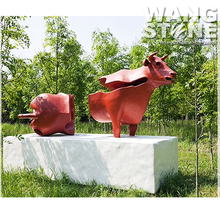 Life Size Stainless Steel Outdoor Red Bull Statue