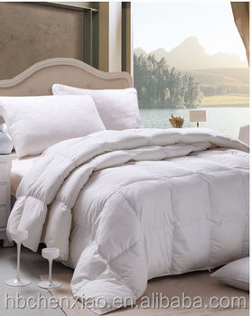 White Color Double Stitching Goose Feather Comforter 15% Down ... : feather down quilt - Adamdwight.com