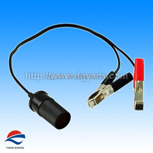 Power cable with cigarette male plug to crocodile clips