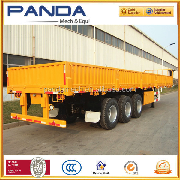 Tri-Axle 50ton 40Feet Flat Bed Side wall Cargo Truck Semi Trailer For Sale