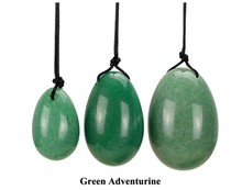 Kegel Exercise Tool Natural Gemstone Drilled Green Aventurine Jade Egg Set for Pelvic Floor Exercise