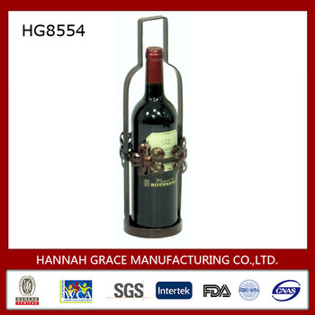 Decorative Metal Bottle Wine Holder with Butterfly