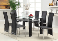 Modern dining room furniture, tempered glass table top and PU wrapped legs