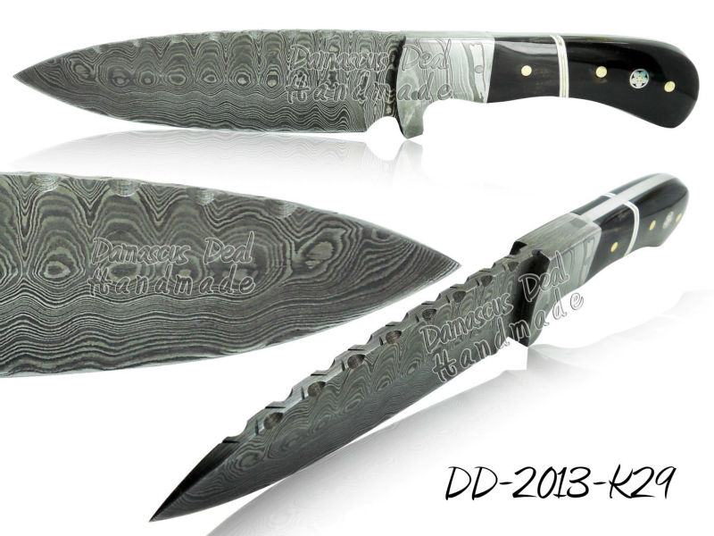 Damascus Steel Knife DD-2013-K29 Buffalo Horn Handle