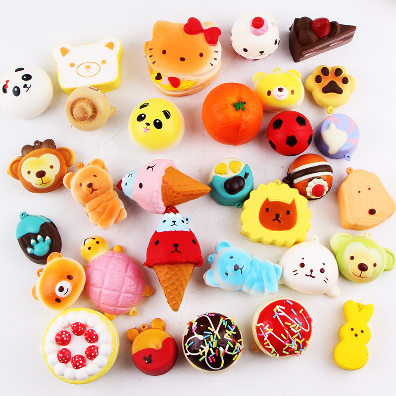 Soft Slow Rising Jumbo Pendant Squishy Toys Kawaii Animals Stress Relief Case 20pcs 12pcs Random Pack Wholesale Fast Delivery