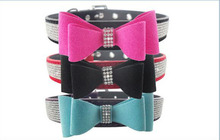 Luxury Pet Accessories Dog Collar Rhinestone Buckle Design Fancy Crystal Suede Bow Tie Dog Collar for Small Medium Large Dogs