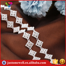 New Fancy Rhinestone Plastic Chain, Pearl Beads Plastic Banding Trimming