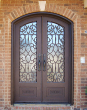 Luxurious eyebrow double entry wrought iron security doors