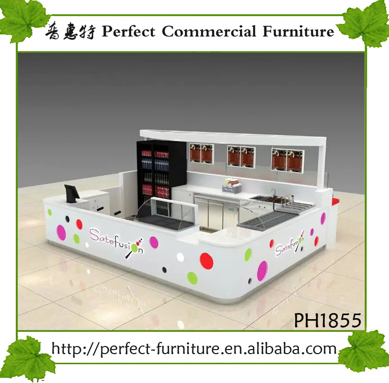 Shopping mall food kiosk with fresh design ideas for sale
